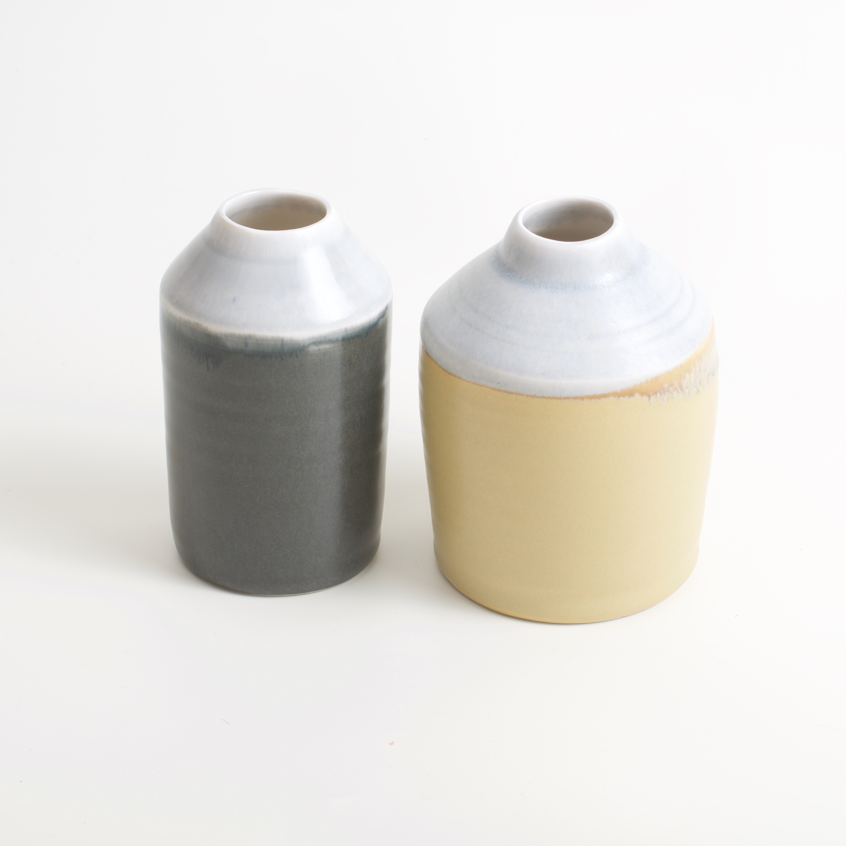 Linda Bloomfield two-tone bottles mustard and slate