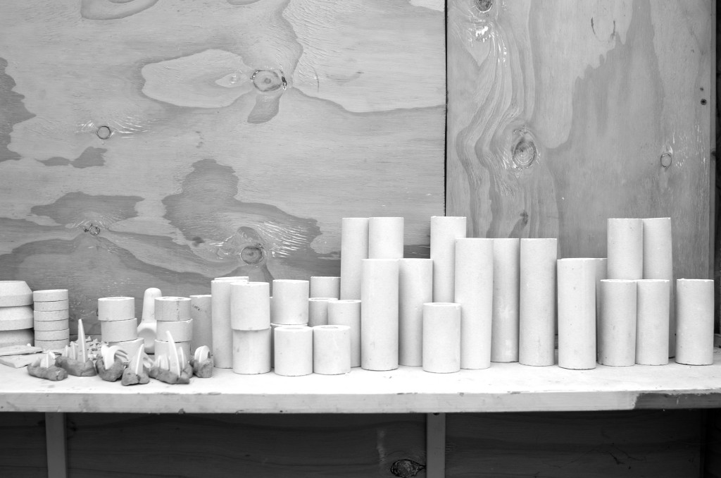 black and white - pottery shed- handmade porcelain - kiln- kiln props