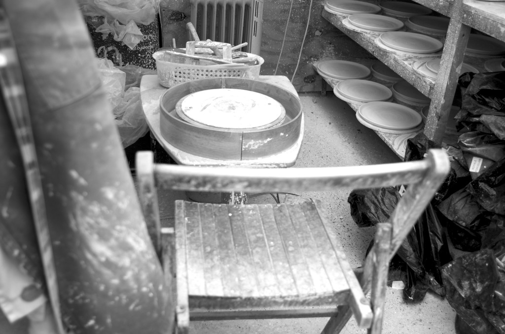 black and white - pottery shed- handmade porcelain - potters wheel