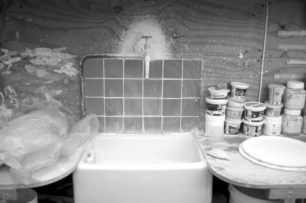 black and white - pottery shed- handmade porcelain - sink