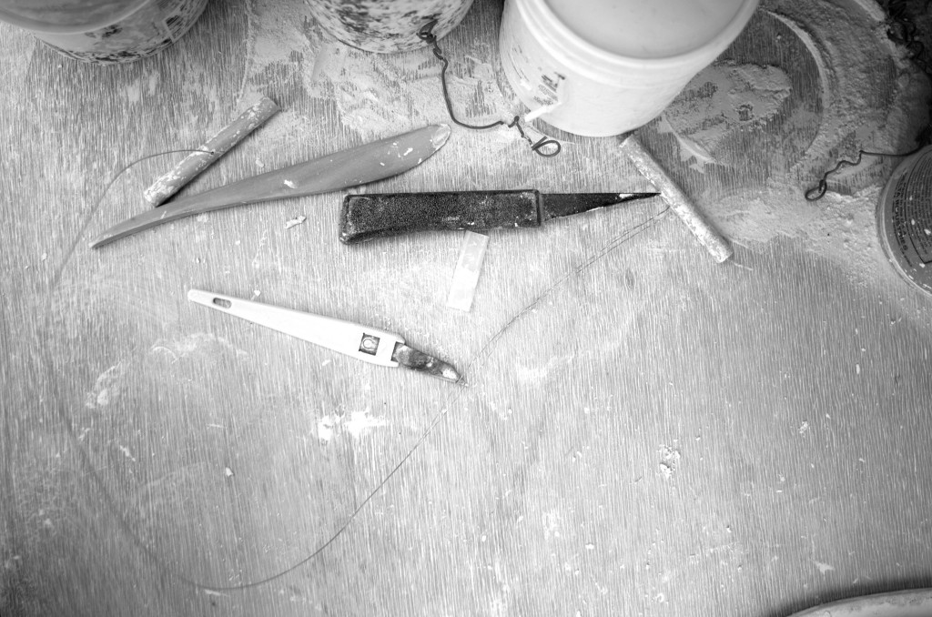 black and white - pottery shed- handmade porcelain - tools
