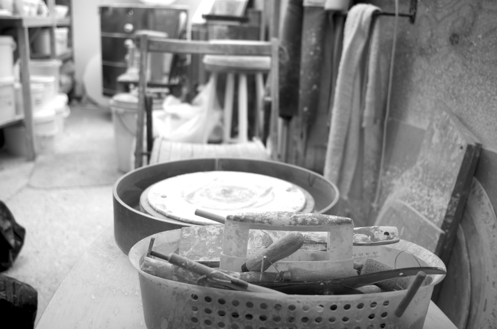 black and white - pottery shed- handmade porcelain -- tools