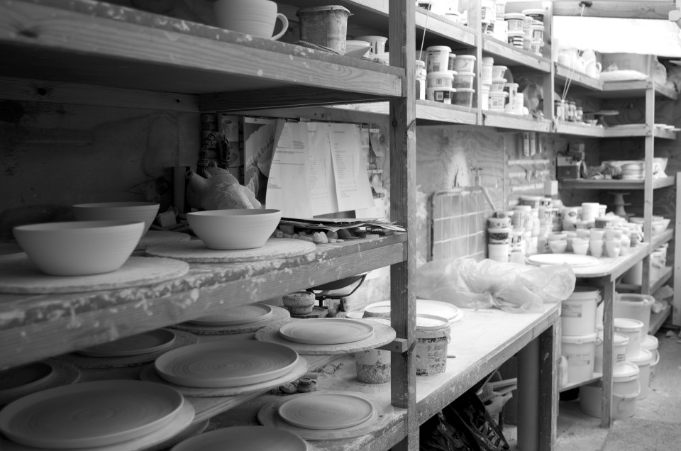 black and white - pottery shed- handmade porcelain -