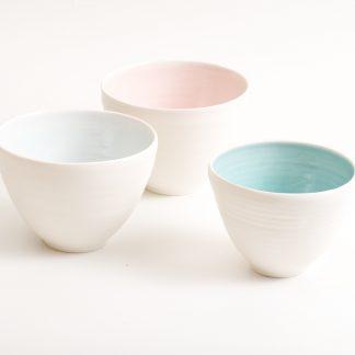 handmade porcelain- bowl - turquoise - blue - pink- tableware- dinnerware-
