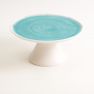 cake stand- handmade porcelain- handmade cake stand- turquoise