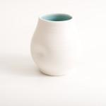 handmade- porcelain- vase -dimpled- turquoise