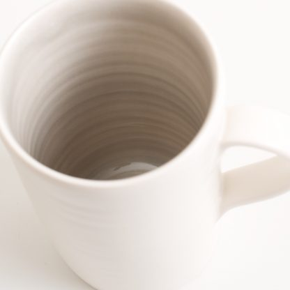 handmade porcelain- mug- tea- grey