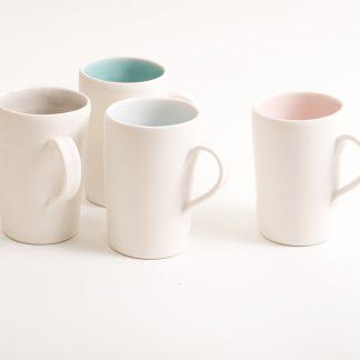 mug-porcelain-handmade-ceramic-tableware-tea-coffee- pink- grey- turquoise- blue- knitted -cosy- tea cos
