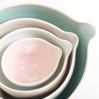 handmade porcelain- nesting bowls- baking- cooking- tableware