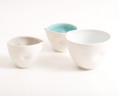 handmade porcelain- nesting bowls- set- baking -cooking -tableware - pouring bowl- blue- turquoise-grey