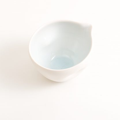 pouring bowl- handmade porcelain- tableware- cookware- dinnerware- blue pourer- dimpled porcelain