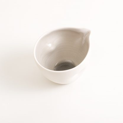 pouring bowl- handmade porcelain- tableware- cookware- dinnerware- grey pourer- dimpled porcelain