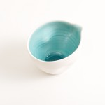 pouring bowl- handmade porcelain- tableware- cookware- dinnerware- turquoise pourer- dimpled porcelain