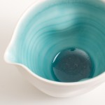 dinnerware- tableware- handmade porcelain- turquoise pourer- pouring bowl- dimpled