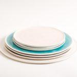 handmade porcelain- tableware- dinnerware- plate- dining- grey- pink- turquoise- white platter