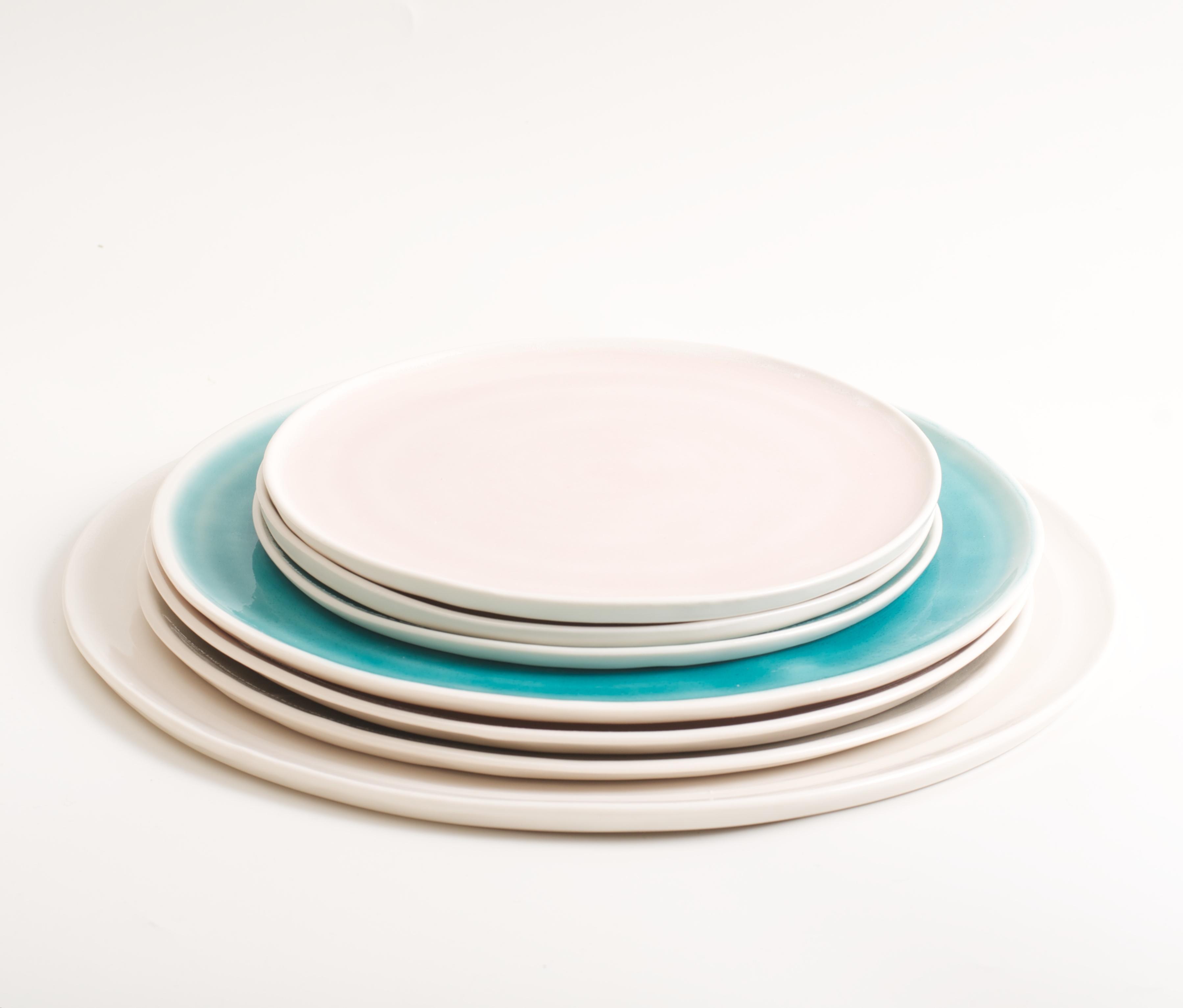 handmade porcelain- tableware- dinnerware- plate- dining- grey- pink- turquoise  sc 1 st  Linda Bloomfield & Handmade plate | Linda Bloomfield