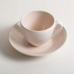 Linda Bloomfield handmade porcelain teacup and saucer - pink