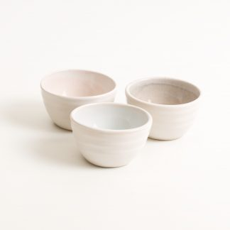 stoneware range- cafe tableware- pink interior- dipping bowl- tiny bowl- salt and pepper bowls- blue- grey