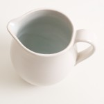 tableware designer- cafe range-blue jug- linda bloomfield- stoneware- coloured interior- made in england
