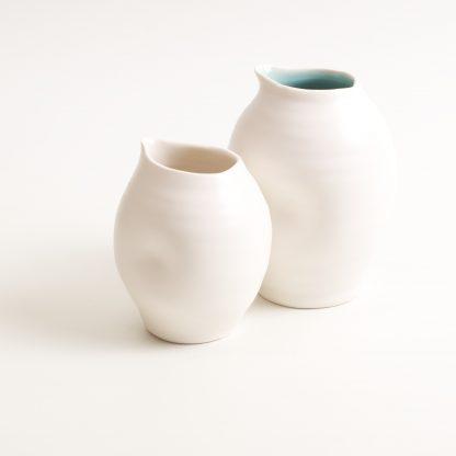 handmade porcelain- tableware- dinnerware- pourer- dimpled pourer- turquoise - white- milk
