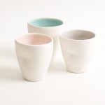handmade porcelain- tableware- dinnerware- cup- dimpled cup- turquoise- grey- pink
