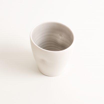 handmade porcelain- tableware- dinnerware- cup- dimpled cup- grey