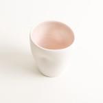 handmade porcelain- tableware- dinnerware- cup- dimpled cup- pink