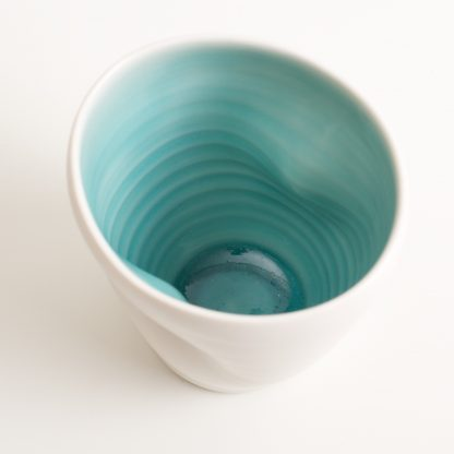 handmade porcelain- tableware- dinnerware- cup- dimpled cup- turquoise