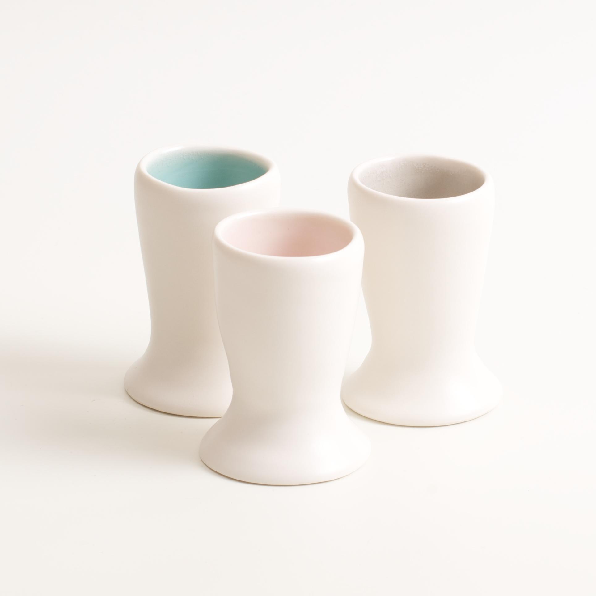 handmade porcelain- tableware- dinnerware- breakfast- eggs- build eggs- egg cup- turquoise - grey- pink