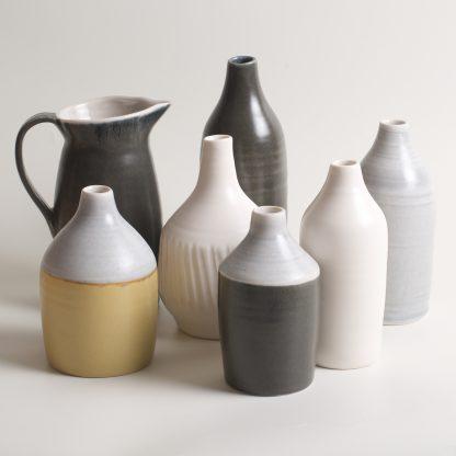 Linda Bloomfield handmade porcelain Morandi-inspired jug and bottles - grey, black, yellow and white