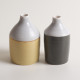 Linda Bloomfield handmade porcelain Morandi-inspired bottles - grey and mustard