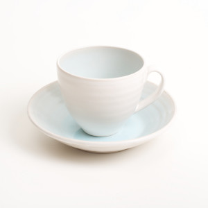 Linda Bloomfield handmade porcelain cup and saucer - pale blue