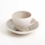 Linda Bloomfield handmade porcelain cup and saucer - grey
