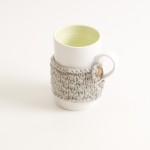 porcelain tableware- made in china- citrine mug- linda bloomfield- porcelain designer- tableware designer- ruth cross- knitted cosy- mug cosy
