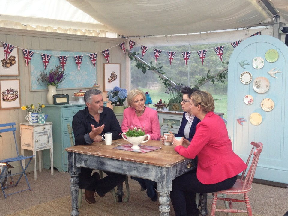 Linda Bloomfield mugs on The Great British Bake Off - Mary Berry, Paul Hollywood, Sue Perkins and Mel Geidroyc