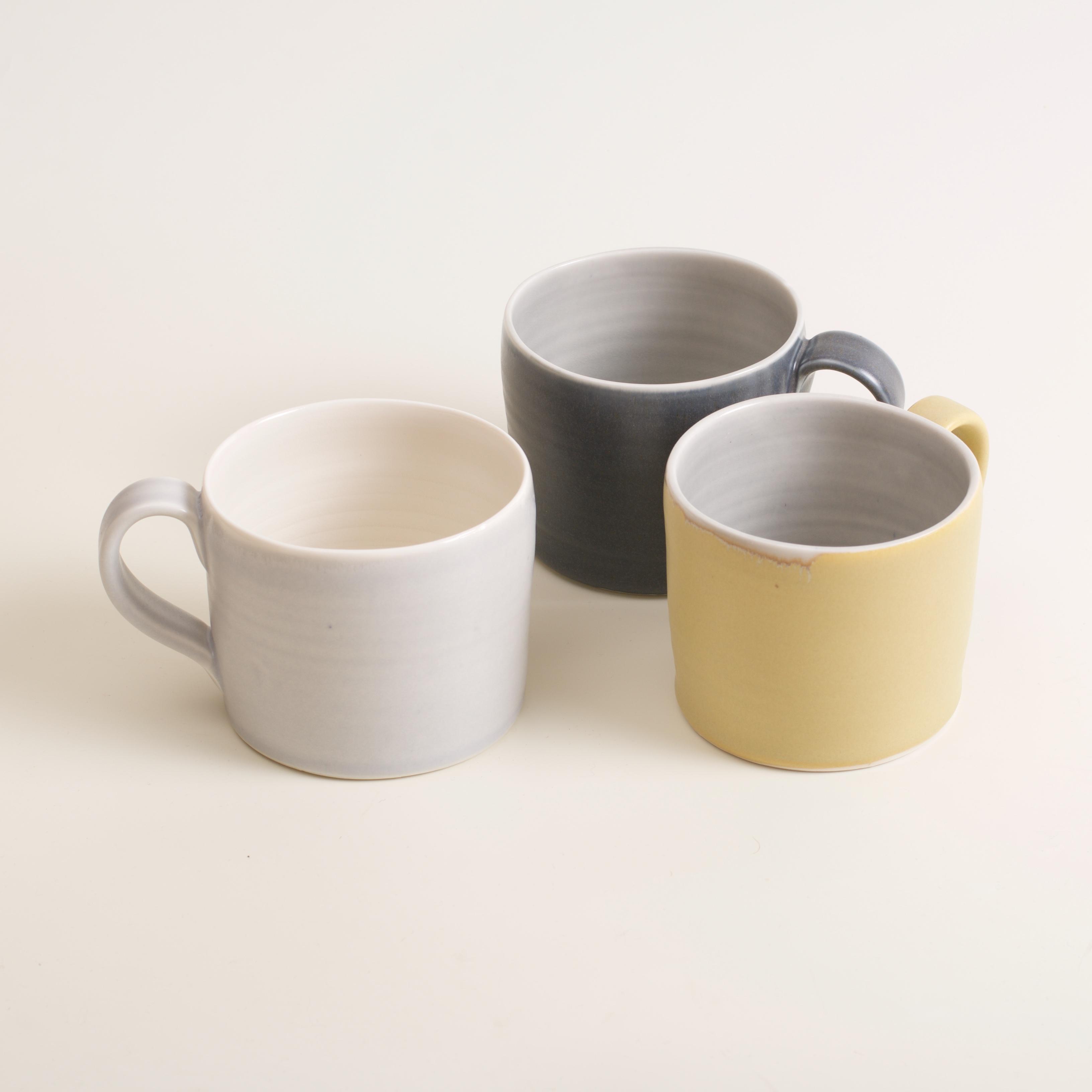 Linda Bloomfield- Short mugs- Handmade Porcelain- grey- mustard- black- everyday - tea- coffee