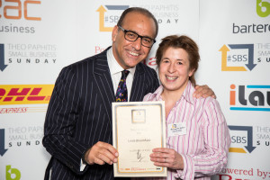 SBS winner Linda Bloomfield with Theo Paphitis