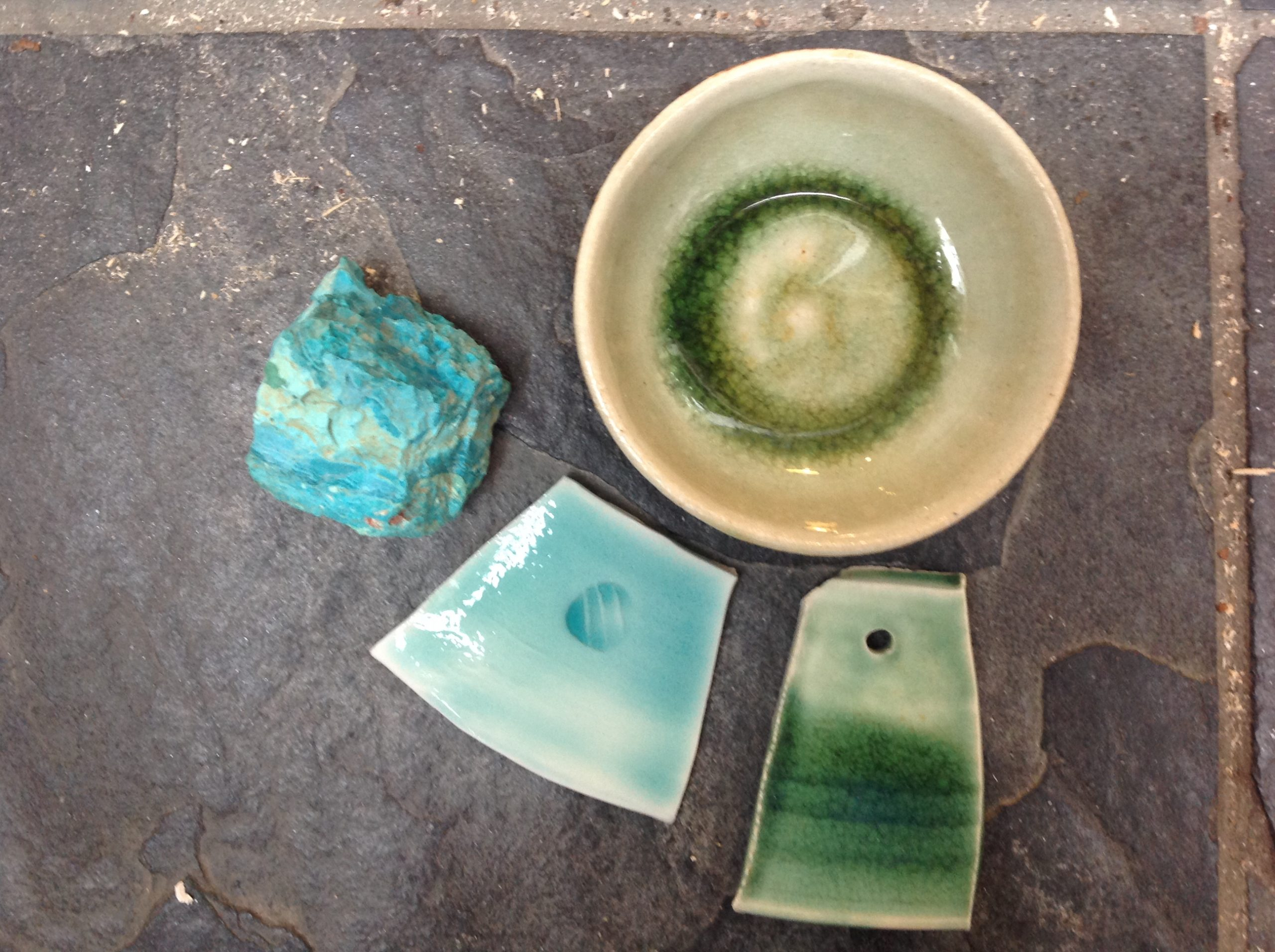 copper oxide glazes and chrysocolla