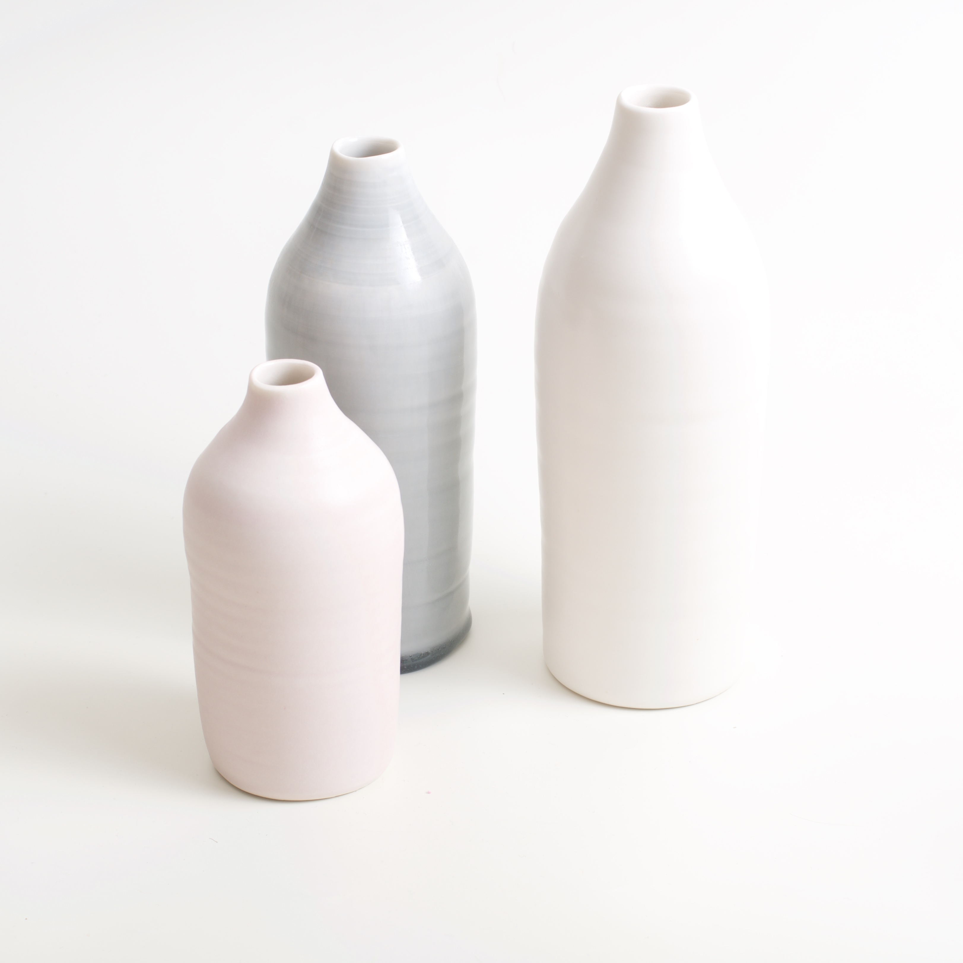Linda Bloomfield slim porcelain bottles pink white and grey