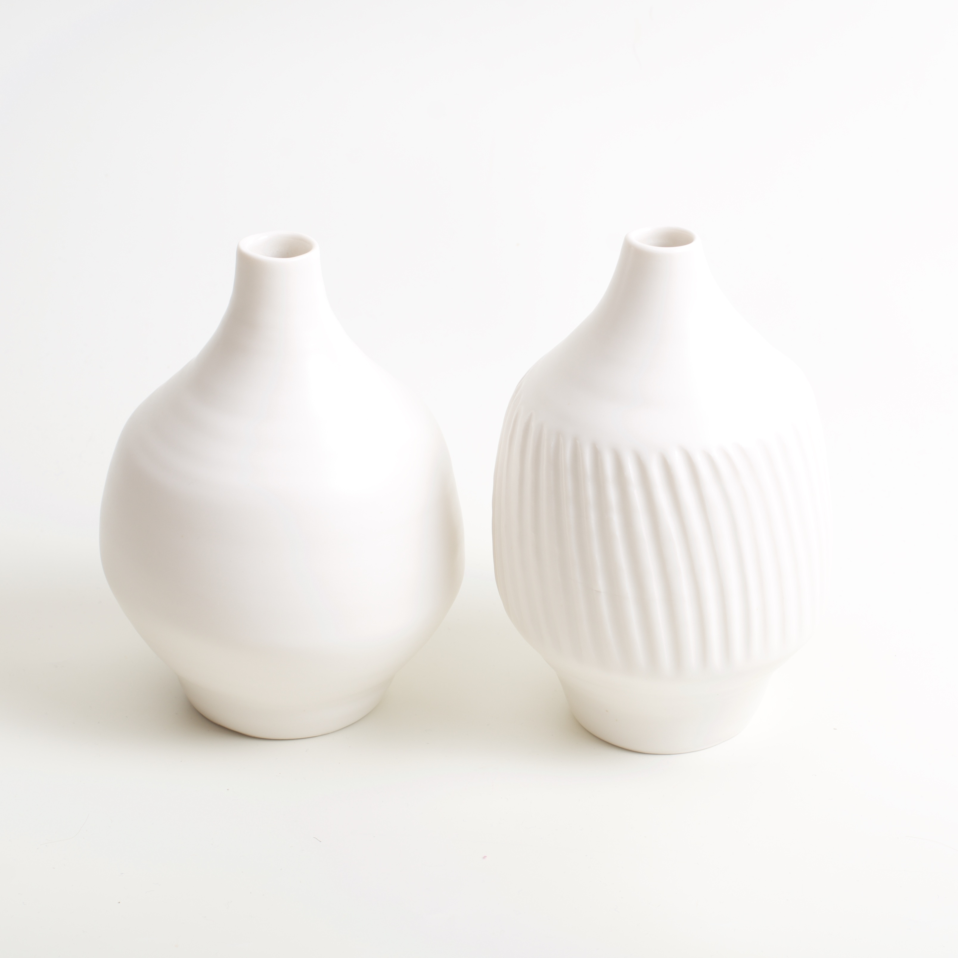 Linda Bloomfield fat porcelain bottles plain and fluted