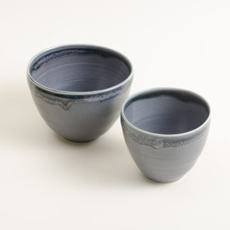 Handmade Porcelain Bowl- black glaze- linda bloomfield- tableware- set of two bowls
