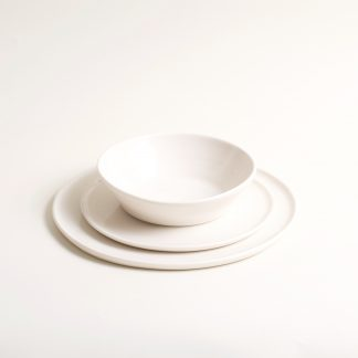 Matt porcelain plate- dinnerware- tableware- handmade- hand thrown- by linda bloomfield- place setting-