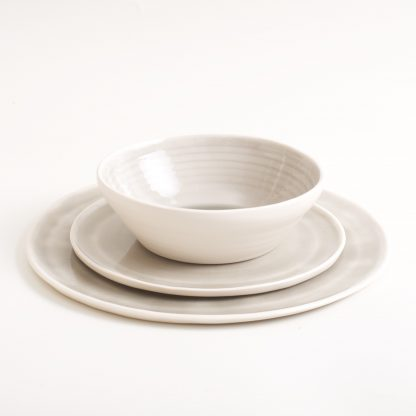 Grey dinnerware- tableware- place setting- porcelain- plates and mug- hand thrown by Linda Bloomfield