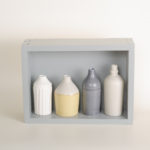 Hand thrown bottles, in white, grey and mustard, inspired by morandi paintings.