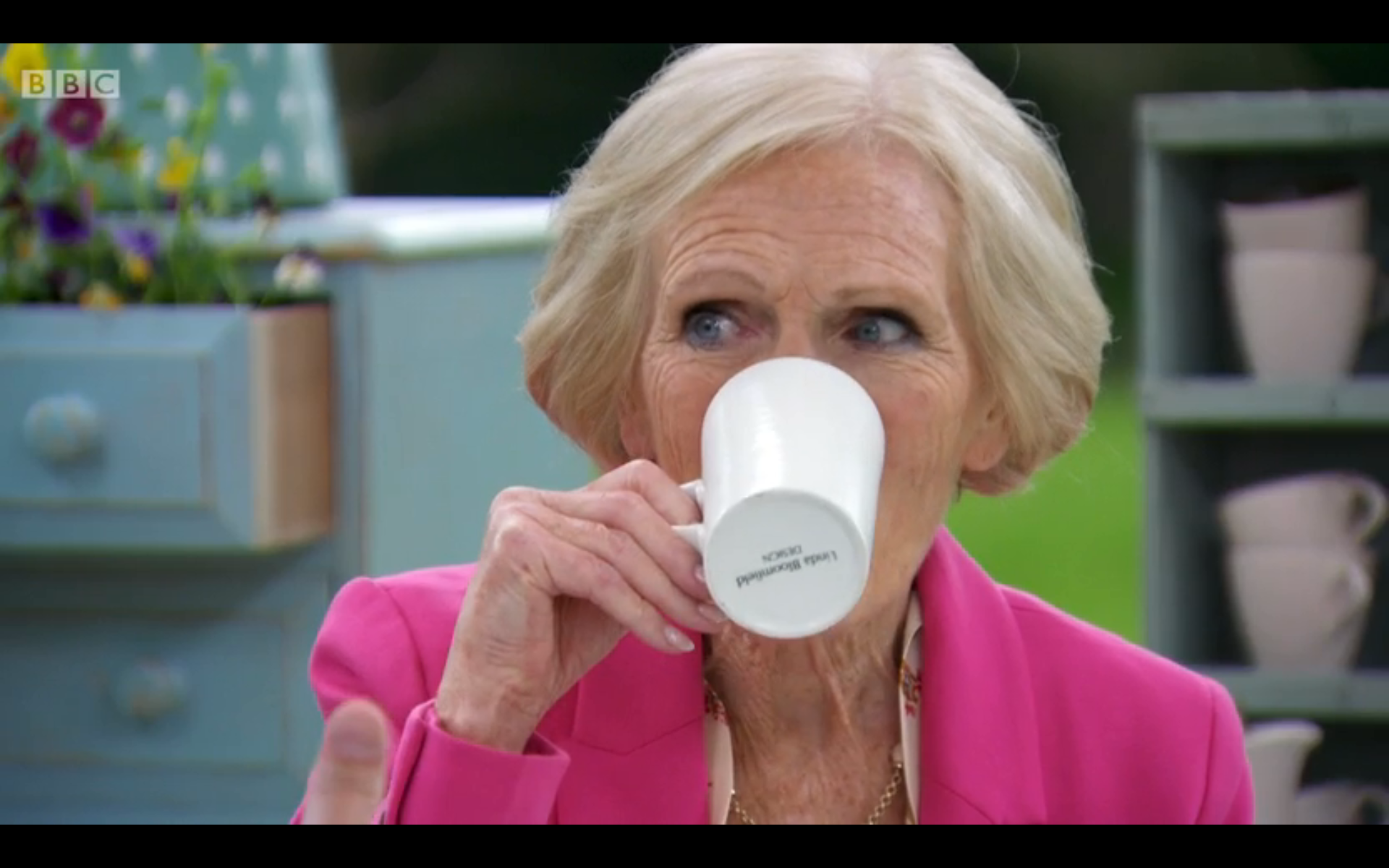 Mary Berry using one of my mugs on the Great British Bake-Off 2013