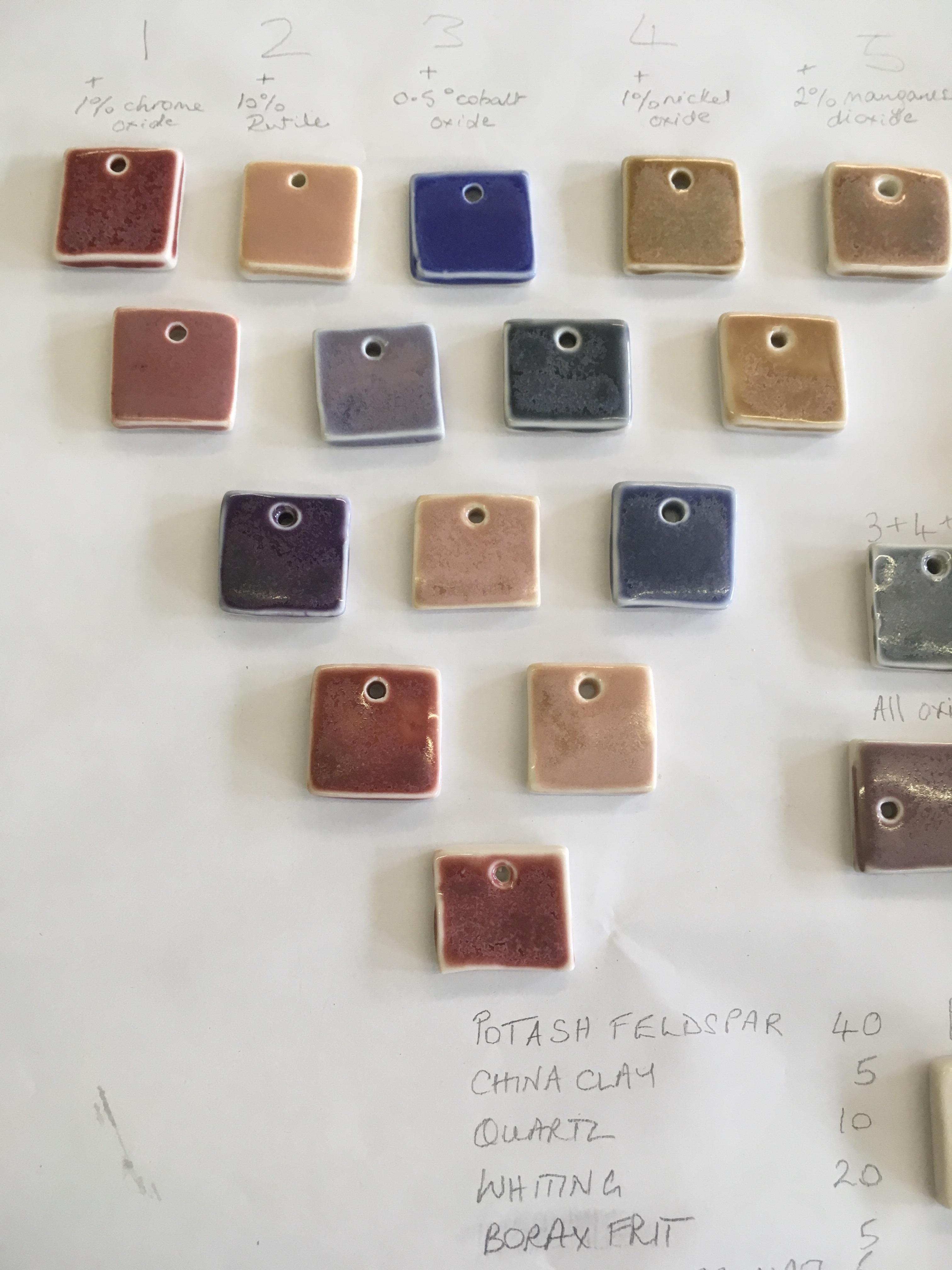 Glaze colour tests