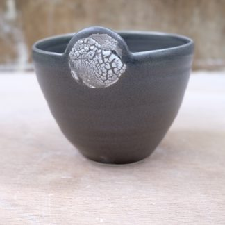 lichen-effect black porcelain bowl