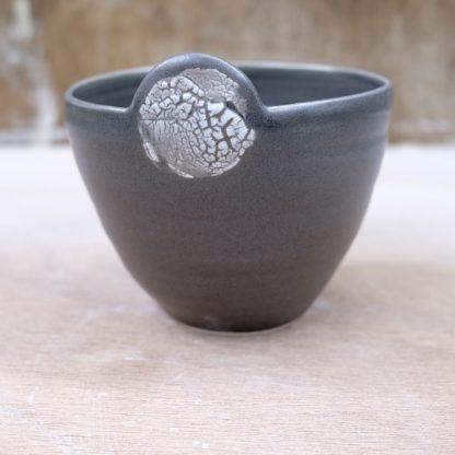 lichen-effect black porcelain bowl