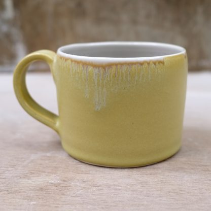 mustard porcelain mug