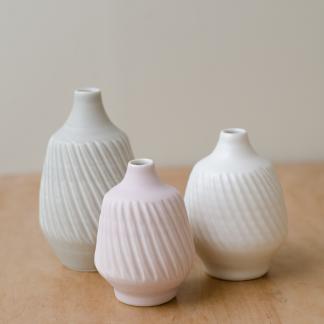fluted porcelain vases